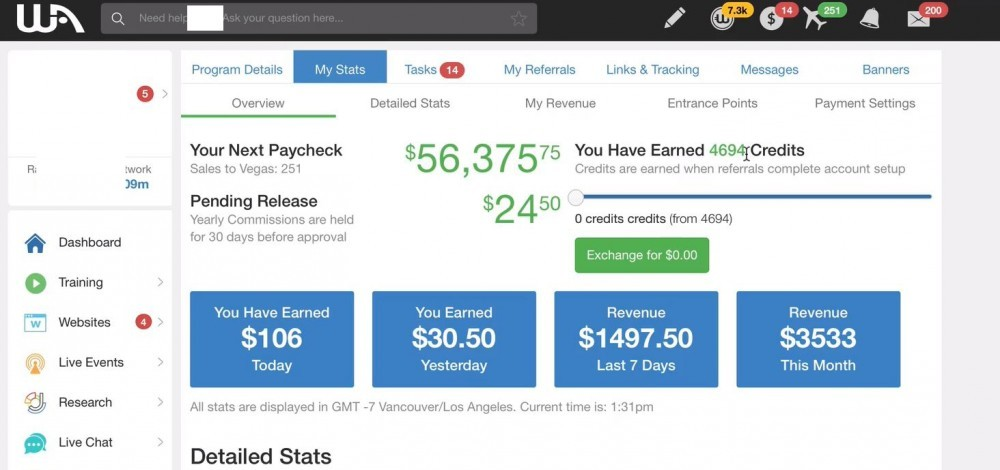 Wealthy Affiliate earnings